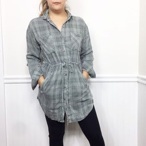 Billy T | Distressed Green Plaid Shirt Tunic Dress